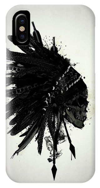 American Indian iPhone Case - Warbonnet Skull by Nicklas Gustafsson