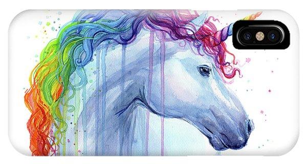 Magician iPhone Case - Rainbow Unicorn Watercolor by Olga Shvartsur