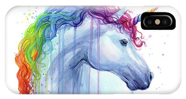 Unicorn iPhone Case - Rainbow Unicorn Watercolor by Olga Shvartsur