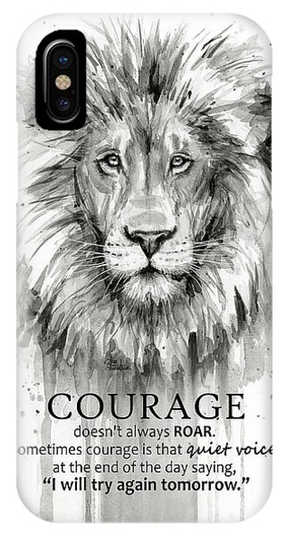 Room iPhone Case - Lion Courage Motivational Quote Watercolor Animal by Olga Shvartsur