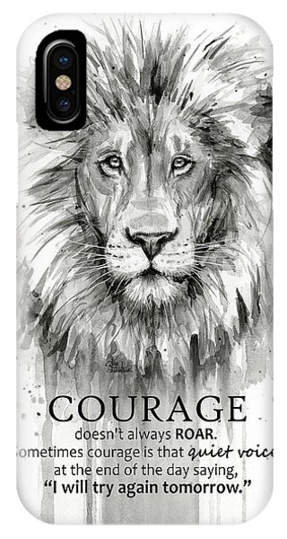 Lions iPhone Case - Lion Courage Motivational Quote Watercolor Animal by Olga Shvartsur