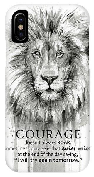 Lion iPhone Case - Lion Courage Motivational Quote Watercolor Animal by Olga Shvartsur