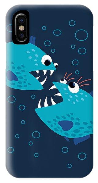 Gossiping Blue Piranha Fish IPhone Case