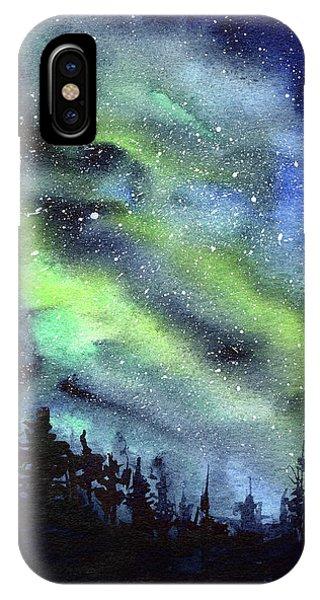 Galaxy Watercolor Nebula Northern Lights IPhone Case
