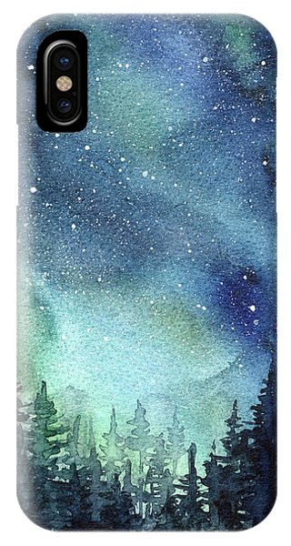 Galaxy Watercolor Aurora Painting IPhone Case