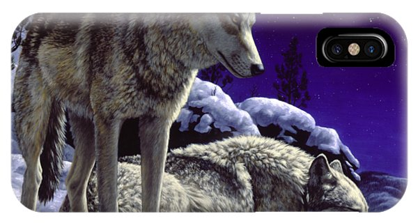 Night iPhone Case - Wolf Painting - Night Watch by Crista Forest