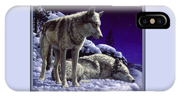 Animal iPhone Case - Wolf Painting - Night Watch by Crista Forest