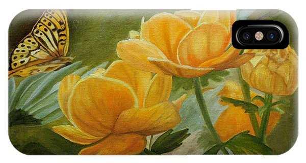 IPhone Case featuring the painting Butterfly Among Yellow Flowers by Angeles M Pomata