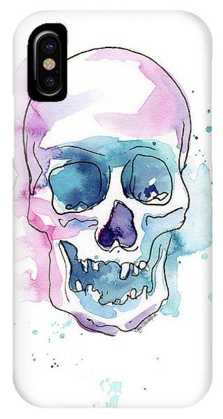 Skull iPhone Case - Skull Watercolor Abstract by Olga Shvartsur