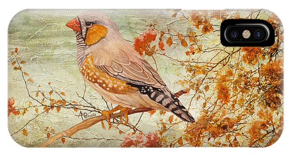 IPhone Case featuring the painting Zebra Finch Among Almond Trees by Angeles M Pomata
