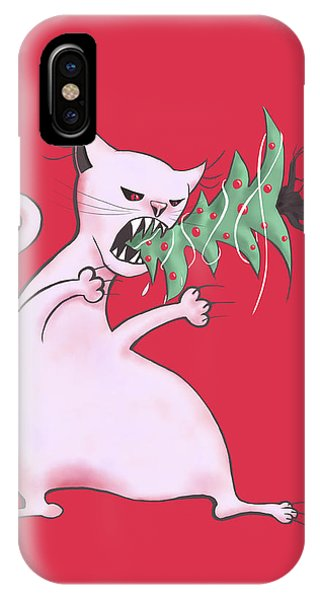 Funny White Cat Eats Christmas Tree IPhone Case