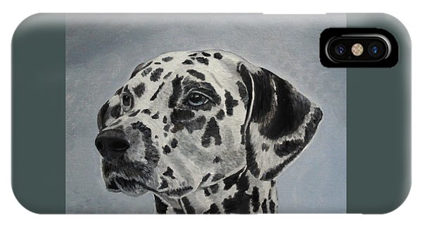 IPhone Case featuring the painting Dalmatian Portrait by Angeles M Pomata