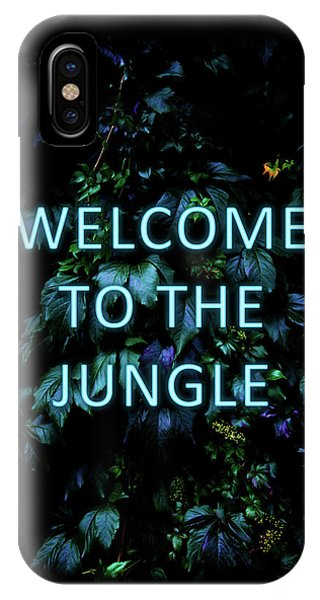 Neon iPhone Case - Welcome To The Jungle - Neon Typography by Nicklas Gustafsson