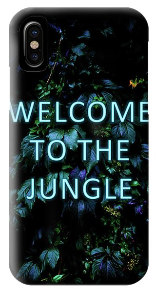 Typography iPhone Case - Welcome To The Jungle - Neon Typography by Nicklas Gustafsson