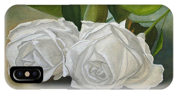IPhone Case featuring the painting White Roses by Angeles M Pomata