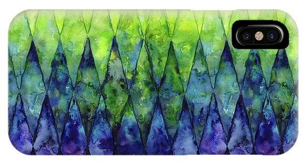 Geo iPhone Case - Colorful Geometric Pattern Watercolor  by Olga Shvartsur