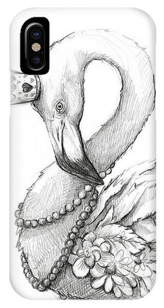Necklace iPhone Case - Flamingo In Pearl Necklace by Olga Shvartsur