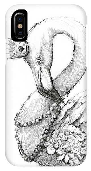 Necklace iPhone Case - Flamingo In Pearl Necklace by Olga Shvartsur