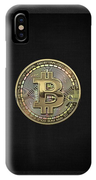 Pop Art iPhone Case - Gold Bitcoin Effigy Over Black Canvas by Serge Averbukh