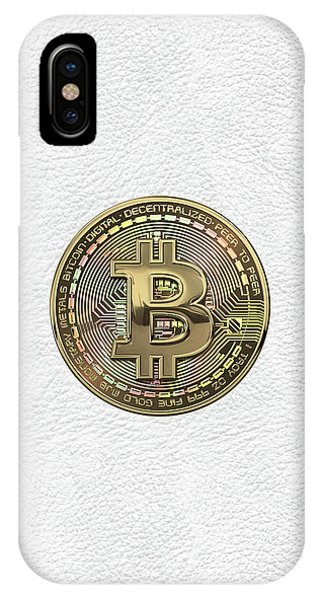 Pop Art iPhone Case - Gold Bitcoin Effigy Over White Leather by Serge Averbukh