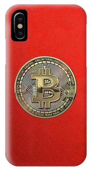 Pop Art iPhone Case - Gold Bitcoin Effigy Over Red Canvas by Serge Averbukh