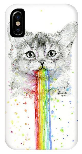 Kitten iPhone Case - Kitten Puking Rainbows by Olga Shvartsur