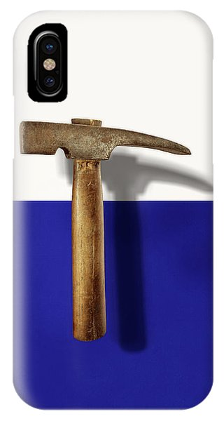 Split Rock iPhone Case - Antique Plumb Masonry Hammer On Color Paper by YoPedro
