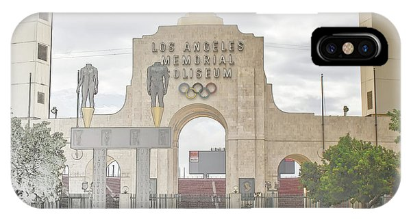 IPhone Case featuring the digital art Los Angeles Memorial Coliseum  by Anthony Murphy