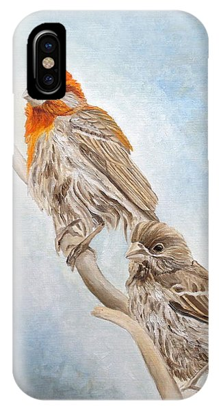 IPhone Case featuring the painting House Finch Couple by Angeles M Pomata