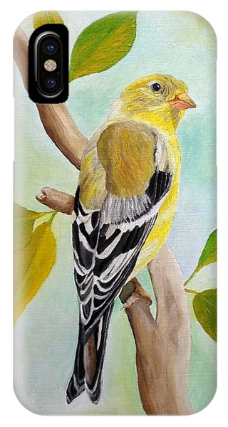 IPhone Case featuring the painting Pretty American Goldfinch by Angeles M Pomata