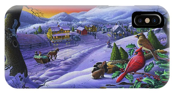 Midwest iPhone Case -  Christmas Sleigh Ride Winter Landscape Oil Painting - Cardinals Country Farm - Small Town Folk Art by Walt Curlee