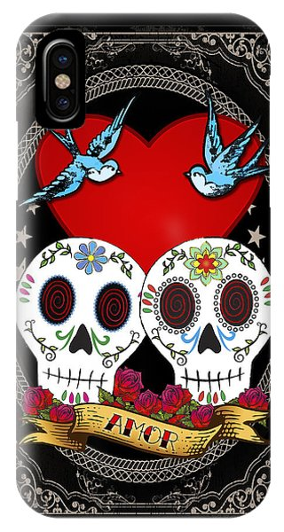 Bluebird iPhone Case - Love Skulls II by Tammy Wetzel