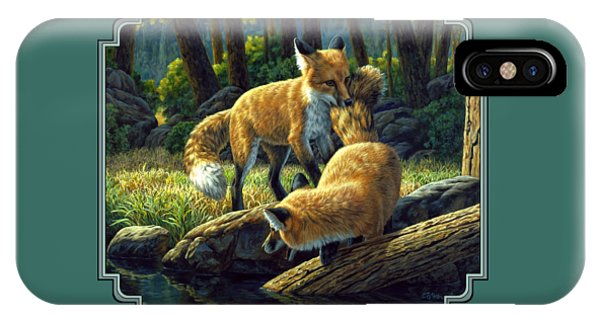 Pup iPhone Case - Red Foxes - Sibling Rivalry by Crista Forest