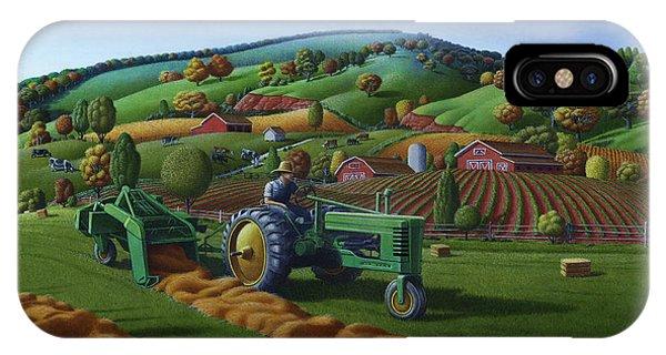 John Deere Tractor Baling Hay Farm Folk Art Landscape - Vintage - Americana Decor -  Painting IPhone Case