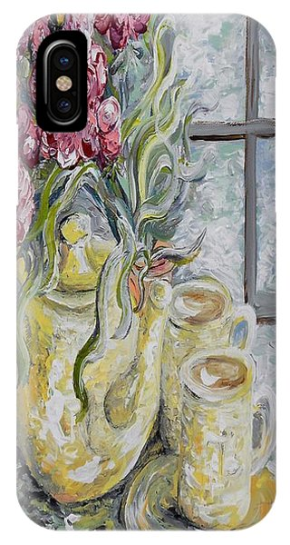 Table For Two iPhone Case - Morning Tea For Two by Eloise Schneider Mote