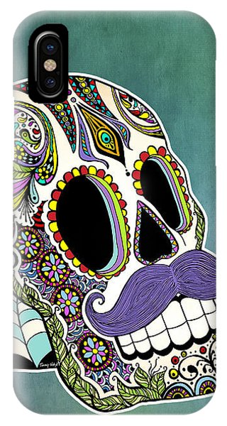 Tribute iPhone Case - Mustache Sugar Skull by Tammy Wetzel