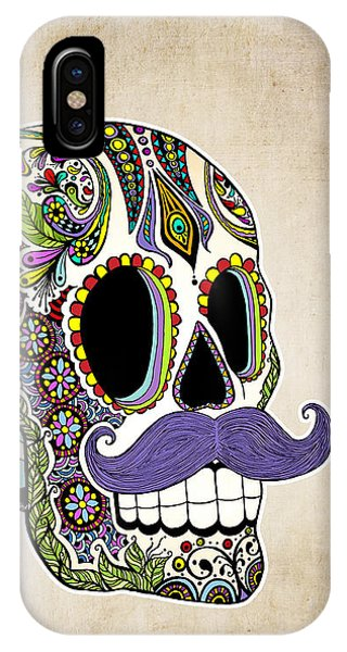 Mustache Sugar Skull Vintage Style IPhone Case