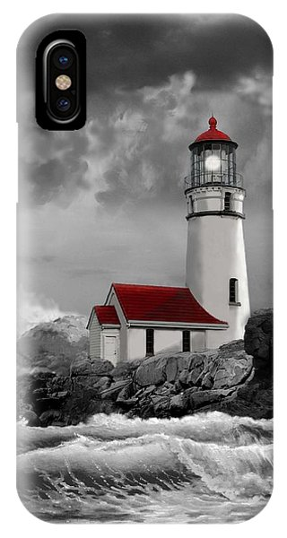 Oregon Lighthouse Cape Blanco In Black White And Red IPhone Case
