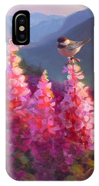 Eagle River Summer Chickadee And Fireweed Alaskan Landscape IPhone Case