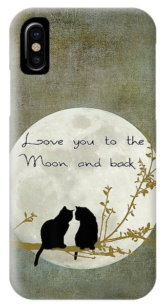 Cats iPhone Case - Love You To The Moon And Back by Linda Lees