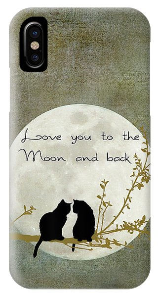 Love iPhone X Case - Love You To The Moon And Back by Linda Lees
