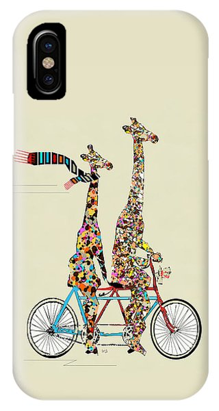 Digital iPhone Case - Giraffe Days Lets Tandem by Bri Buckley
