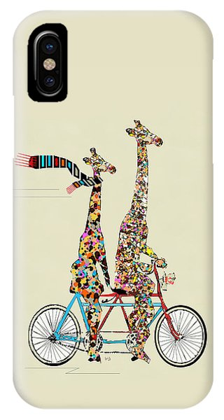 Bicycle iPhone X Case - Giraffe Days Lets Tandem by Bri Buckley