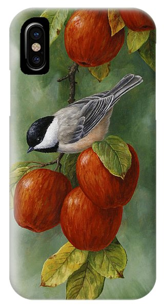 Orchard iPhone Case - Bird Painting - Apple Harvest Chickadees by Crista Forest