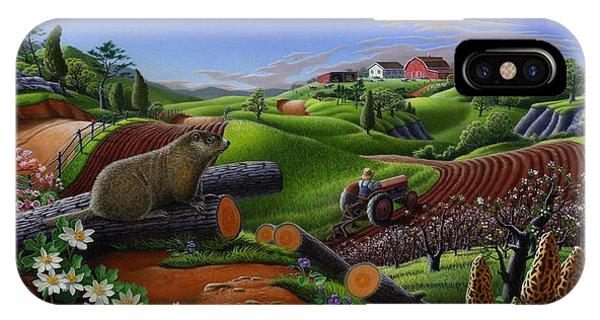 Groundhog iPhone Case - Farm Folk Art - Groundhog Spring Appalachia Landscape - Rural Country Americana - Woodchuck by Walt Curlee