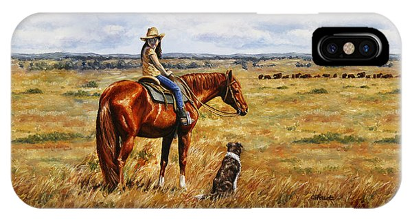 Horse Painting - Waiting For Dad IPhone Case