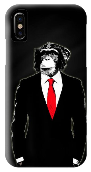 Red iPhone X Case - Domesticated Monkey by Nicklas Gustafsson