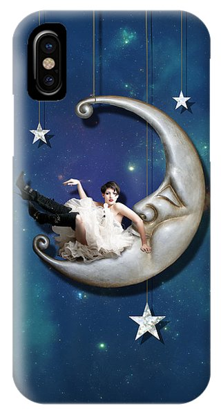 Fantasy iPhone X Case - Paper Moon by Linda Lees