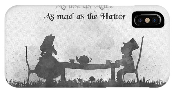 Fairy iPhone Case - As Lost As Alice As Mad As The Hatter Black And White by My Inspiration