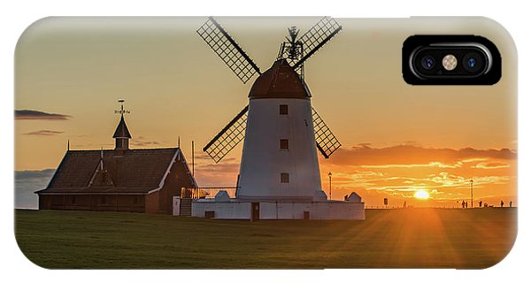 Windmill iPhone Case - As The Sun Sets  by Mark Mc neill